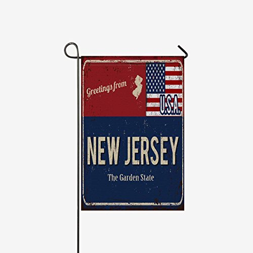 InterestPrint Greetings from New Jersey Rusty Metal Sign with American Flag Decorative Flag Garden Flag House Banner for Wishing Party Wedding Yard Home Decor 12