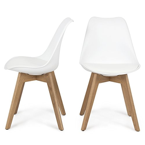 Cheap Belleze Set of (2) Retro DSW Mid Century Style Molded Plastic Chair Side Premium Seat Cushion Backrest Wooden Leg, White