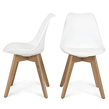 Belleze Retro DSW Mid Century Style Molded Plastic Chair Side Premium Wooden Leg, White, Set of 2