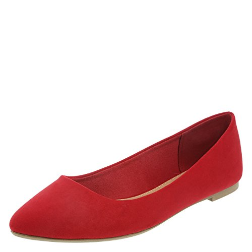 Christian Siriano For Payless Red Suede Womens Gigi Point Flat 5 Wide