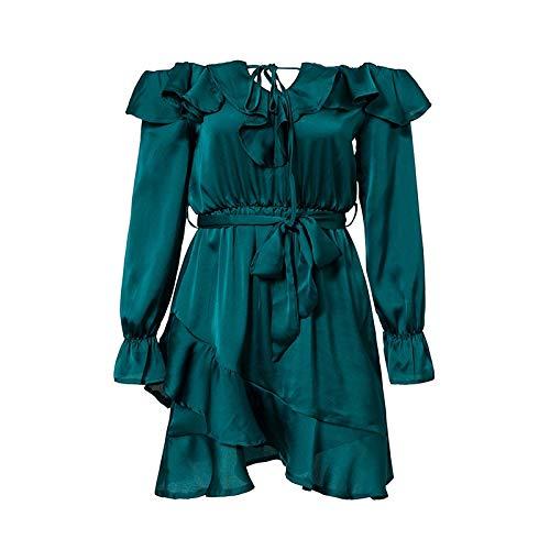 Da Eleganti Fashion Multistrato Verde Cocktail Vestiti Monocromo Donna Mini Primaverile Shoulder Chic Lunga Autunno Con Volant Off Manica Vestito Ragazza Kl1JTFc3