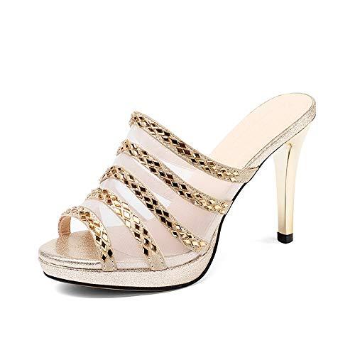 2018 Plus Mujer Verano Genuino 31 Oveja Hoesczs 43 Tacón Nuevo Apliques Size Cuero De Sandalias Zapatos Gold Alto Piel 76SxdwqBx