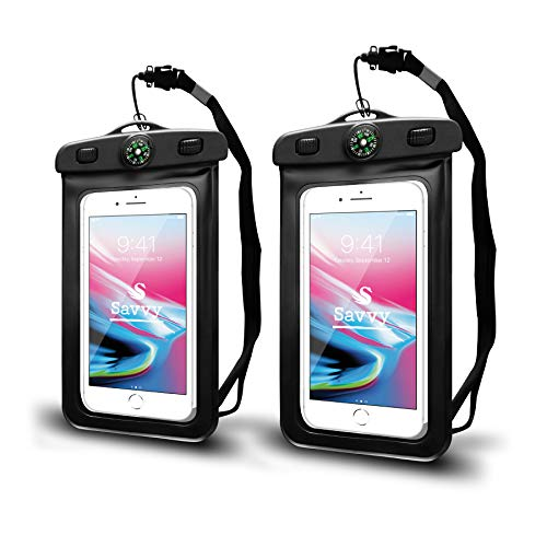 Waterproof Cell Phone Pouch/Dry Bag with Neck Lanyard & Compass - Cruise Essentials - Protects iPhone, Samsung, Google, Sony Moto - Credit Cards, Cash, Name Tags, Badge Holders (2-Pack, Black)