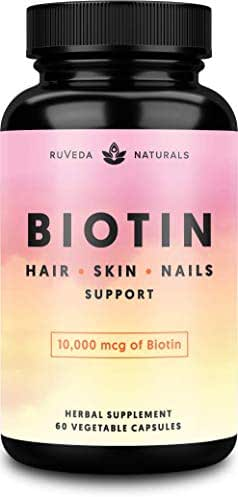 Hair Vitamins—Biotin 10000 mcg for Hair Growth, Hair Skin and Nails Vitamins + Adaptogens, Hair Growth Vitamins, Hair Vitamins for Faster Hair Growth, Biotin for Hair Growth, Biotin Supplement