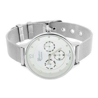 Womens Geneva Platinum Watch White Gold Finish Mesh Band ...