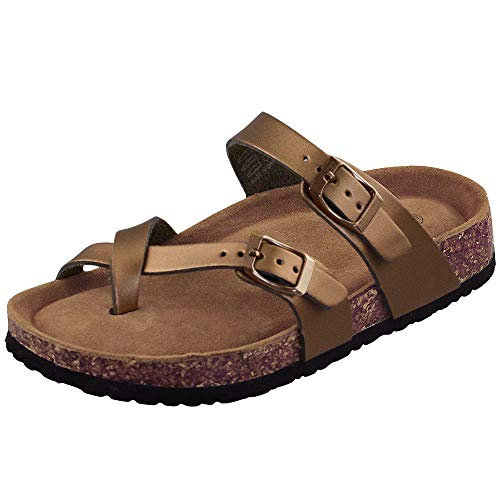 - LA PLAGE Women's Fashion Adjustable Toe Ring Thong Cork Shoes for Summer 10 US Bronze