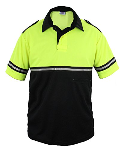 First Class Two Tone Bike Patrol Shirt With Reflective Stripes and Zipper Pocket (Lime Green and Black) (Two Tone Stripe Shirt)