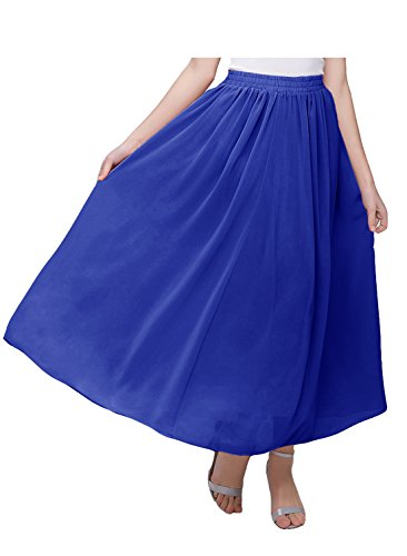Kileyi Women's Long A Line High Elastic Waist Swing Chiffon Pleated Midi Skirt RoyalBlue ()