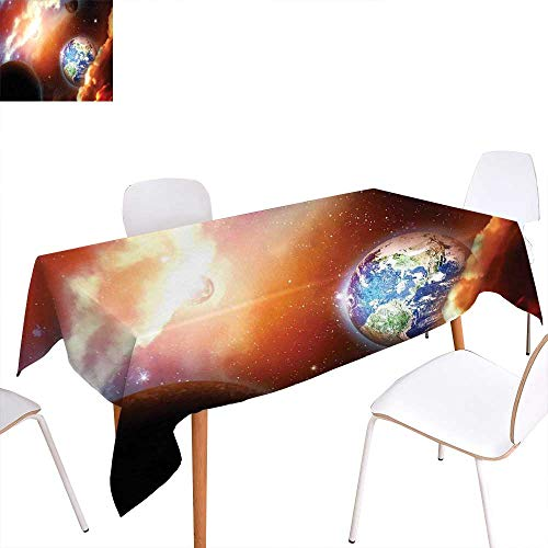 familytaste Space Patterned Tablecloth Dust Cloud Nebula Stars in Solar System Scene with Planet Earth Pluto and Neptune Dust-Proof Oblong Tablecloth 60