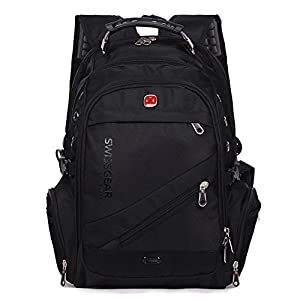 Aquarius CiCi Swiss Gear Business Bags Business Slim Laptop Backpack Water Resistant Travel Outdoor College School Backpack (Black)