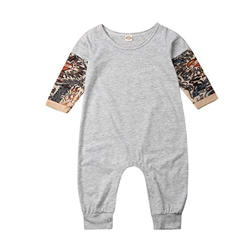 Gouldenhui Infant Baby Boy Tattoo Sleeve Romper, Toddler Boy One Piece Jumpsuits Outfits (Grey, 0-6 Months)