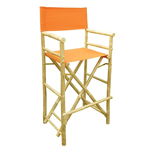 - Zew Hand Crafted Tall Foldable Bamboo Director's Chair with Treated Comfortable Canvas, Set of 2 Bamboo Folding Chairs, Pottery