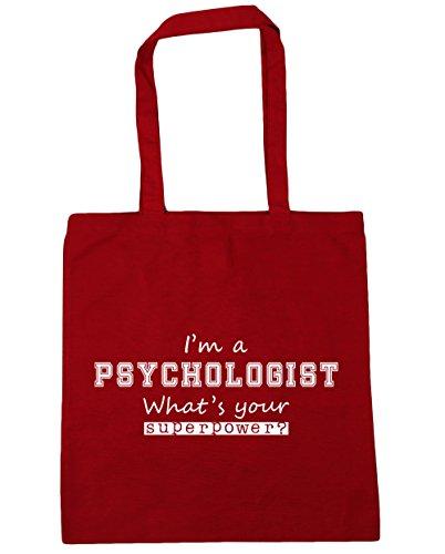 HippoWarehouse I'm a Psychologe What's Your Supermacht? Einkaufstasche Fitnessstudio Strandtasche 42cm x38cm, 10 liter - Klassisch Rot, One size