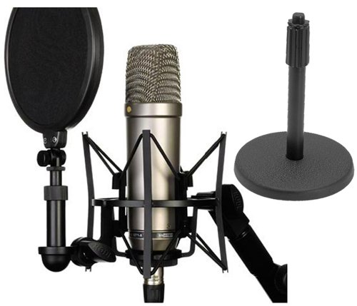 Rode NT1-A Cardioid Condenser Microphone Recording Package with Free Round Base Desk (Mic Base)