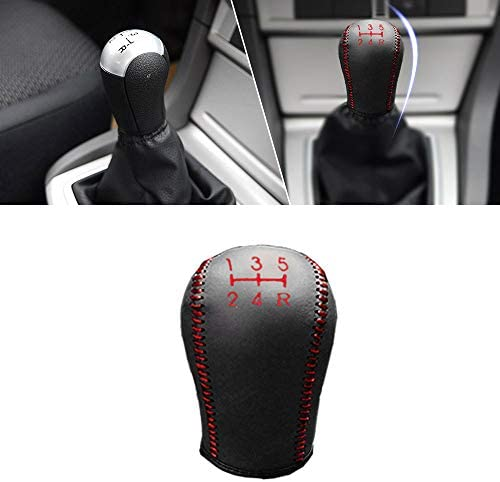 Non-slip Leather Gear Shift Knob Cover MT for Focus 09-17 Ecosport 13-17 ESCORT 15-17 Fiesta 13-17 5 Speed Manual Shift Lever Red /& Black Type I