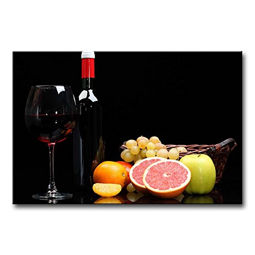 Canvas Print Wall Art Painting For Home Decor Still Life Of Red Wine In Glass And Bottle With Fruits Of Red Orange Pear On Black Background Paintings Modern Giclee Stretched And Framed Artwork The Picture For Living Room Decoration Wine Pictures Photo Prints On Canvas