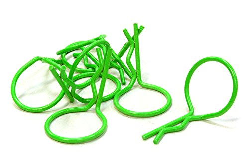 Integy Hobby RC Model C26245GREEN Florescent Color Bent-Up Body Clips (8) for 1/10 RC Cars & Trucks (LxW=26x16mm)