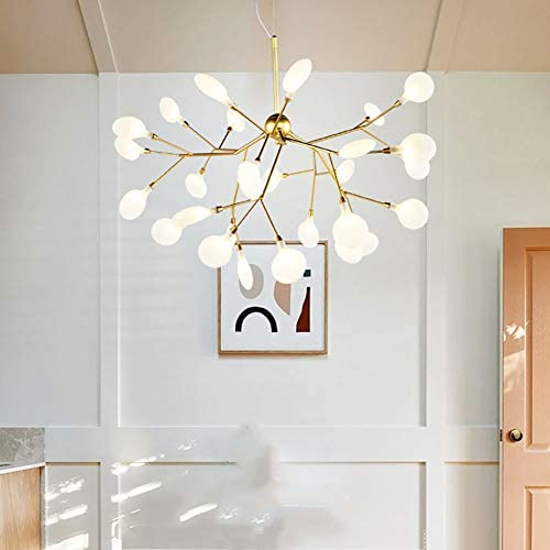 CCSUN Nordic Firefly Sputnik Chandelier, Contemporary Led Branch Pendant Light Adjustable Indoor Hanging Ceiling Light with Glass Shade G4 Include -54-Lights Warm Light