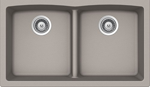 (SCHOCK EDON200YU042 EDO Series CRISTALITE 50/50 Undermount Double Bowl Kitchen Sink, Concrete)
