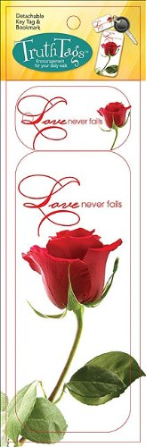 Love Never Fails Truth Tag Detachable Key Tag & Bookmark from Broadman Holman