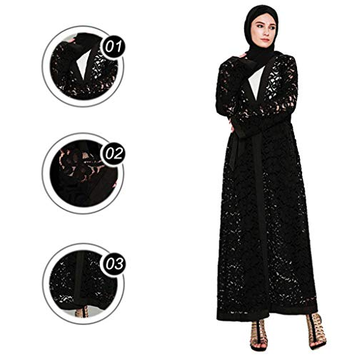 Women Ethnic Robes Abaya Islamic Middle Eastern Arab Bandage Kaftan Long Cardigan Maxi Dress (2XL, Black) ()