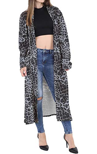 Rimi Hanger Womens Long Sleeve Printed Maxi Cardigan Ladies Open Front Crepe Duster Coat Grey Leopard Small/Medium