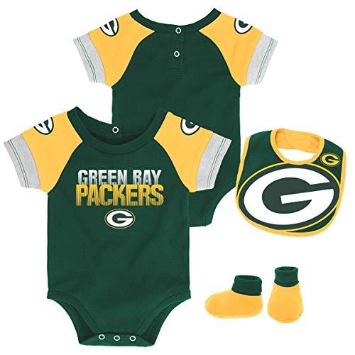 reen Bay Packers Newborn & Infant 50 Yard Dash Bodysuit, Bib & Bootie Set Hunter Green, 12 Months ()