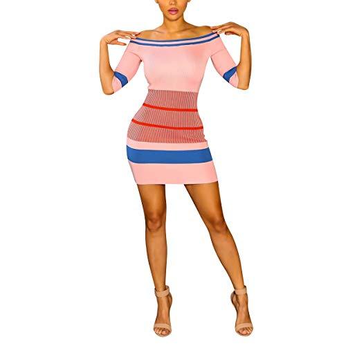 Robe de Courtes Tricot soire en Manches Pink PPnO8xr