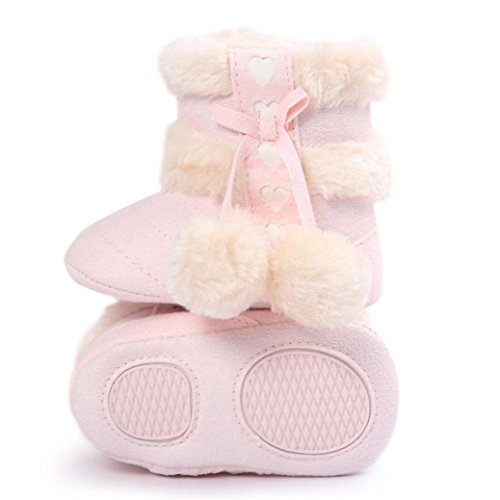 Ouneed® Krabbel schuhe , Herbst Winter Baby Soft Sole Snow Boots Soft Crib Shoes Toddler cute fashion Boots Rosa