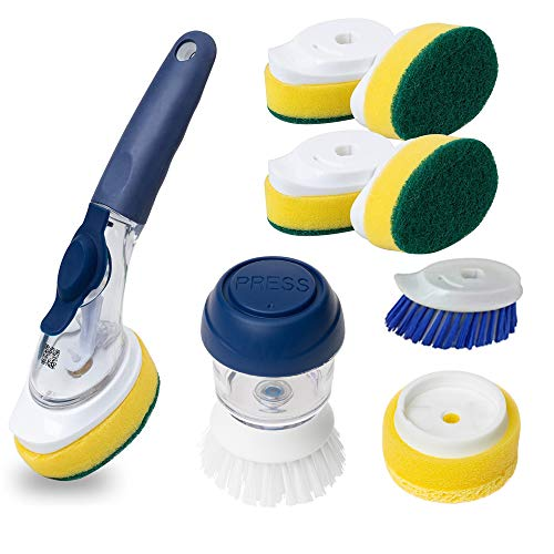 Dish Wand (10 Piece) Superior Heavy Duty Delaware Durables Dish Washing Kitchen Set - Soap Brush and Palm Sponge Included - Eco Friendly Elegant Design