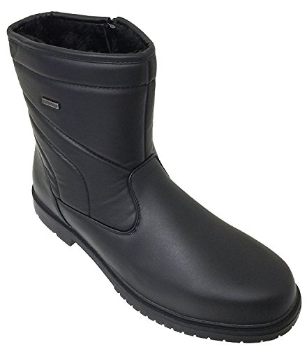 G4U B3700SA Mens Winter Boots Cold Weather Comfort Ankle Warm Fur Lining Shearling Side Zipper Shoes, Black Black