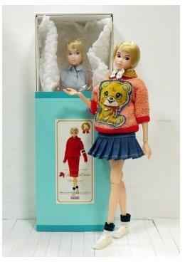 [Momoko 1/6 Doll 13AW Autumnal tints Red Leaf + BHC Bear Bear Baby Dress Set] (Thumbelina Wig)