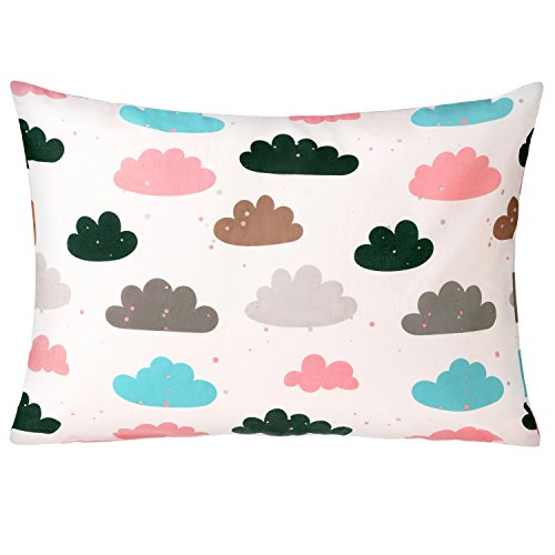 Toddler Pillowcase by Charon Cotton, 100% Organic Pillow Cover, for 13x18 kids pillow, Hypoallergenic, Envelope closure, for Boys and Girls, Clouds (Clouds Collection)