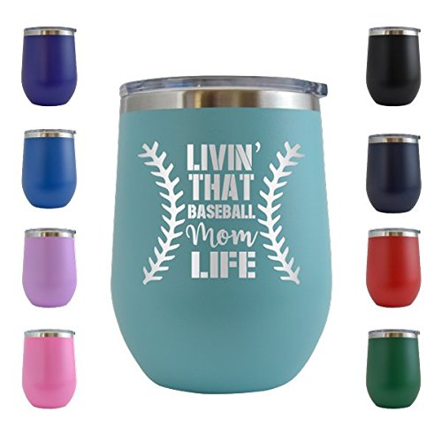 Livin' That Baseball Mom Life - Sports - Engraved 12 oz Wine Tumbler Cup Glass Etched - Funny Gifts for him, her, mom, dad, husband, wife (Teal - 12 oz)