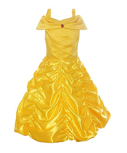 Girls' Princess Belle Costumes Off Shoulder Layered Layered Princess Dress Up Halloween Costume (Yellow Costume, 3T/4T)]()