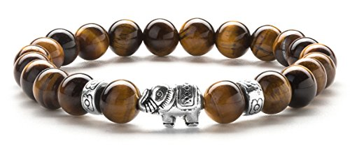 Hamoery Men Women 8mm Lava Rock Beads Bracelet Stone Agate Elastic Bracelet Bangle,Elephant(Tiger Eye Stone)