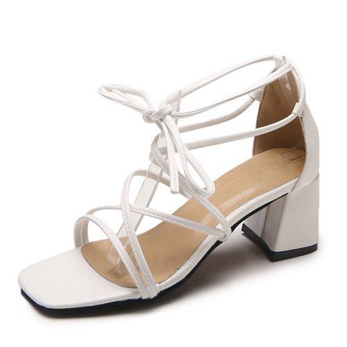 Cinturino Cross Alta Alla Up Donna Sandali Bianco Caviglia Quadrato Sandali Con Scarpe Lace Tied Tacco JUWOJIA Tacco Onorevoli wBvA11