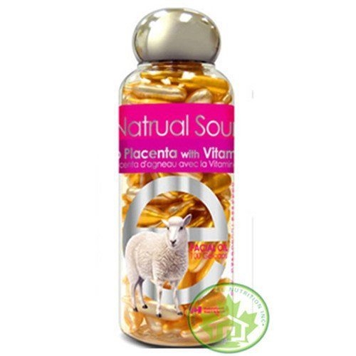 Bill Natural Sources Lamb Placenta with Vitamin E, 100 Gelcaps - rejuvenates dull skin cells and revitalizes skin cells elasticity