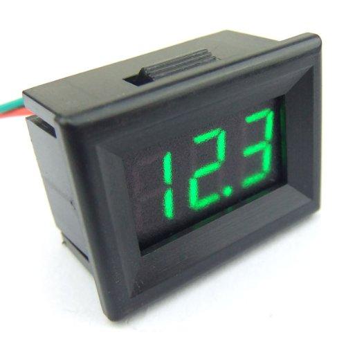 """DROK 0.36"""" Mini Green Display LED Digital Voltmeter Motorcycle Voltage Tester DC 12V 0-30.0V Car Battery Gauge/Monitor(Green)"""