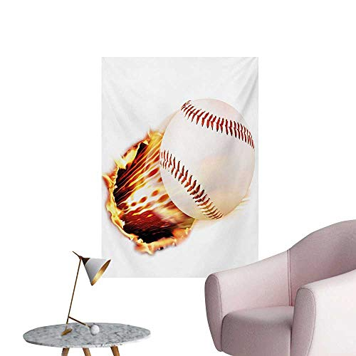 - Anzhutwelve Boys Room Photo Wall Paper Vivid Baseball Ball Tearing The Paper Background with Flames Sports PrintRed Yellow White W24 xL36 Funny Poster