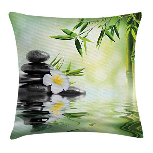 (Ambesonne Spa Throw Pillow Cushion Cover, Garden with Frangipani Bamboo Japanese Relaxation Resting Travel, Decorative Square Accent Pillow Case, 20 X 20 Inches, Pale Green Charcoal Grey Yellow)