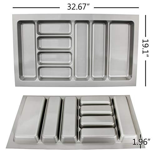 ry Tray Insert Utensil Drawer Divider Organiser 900mm Width Cabinet ABS Plastic Gray Adjustable ()