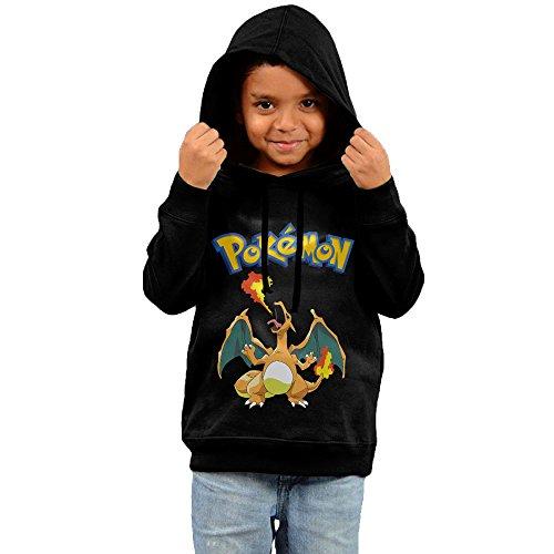 Cartoon-Pokemon-Charizard-Casual-For-Kids-Unisex-Cotton-Hoody-Sweatshirt-Black