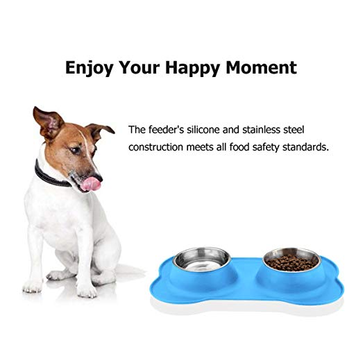 URPOWER Dog Bowls Stainless Steel Dog Bowl with No Spill Non-Skid Silicone Mat 53 oz Feeder Bowls Pet Bowl for Dogs Cats and Pets