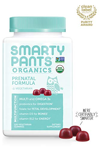 Daily Organic Gummy Prenatal Multivitamin: Biotin, Vitamin C, D3, E, B12, A, Omega 3 Fish Oil, Zinc, Selenium, Niacin, Iodine, Choline, Methylfolate, Thiamine by SmartyPants (120 Count, 30 Day Supply) (Best Organic Products For Pregnancy)