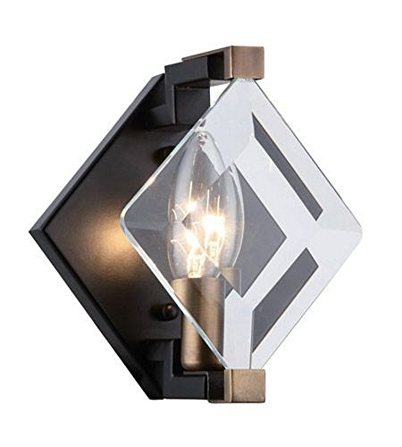 Elegant Lighting 4000W6FB Endicott - One Light Wall Sconce, Burnished Brass/Flat Black Finish with Clear Glass