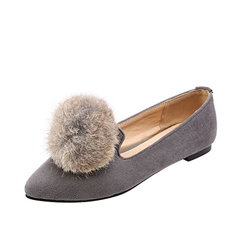 VogueZone009 Women's Pointed Closed Toe Pull On Imitated Suede Solid No Heel Flats-Shoes Gray HFSHQzxpV