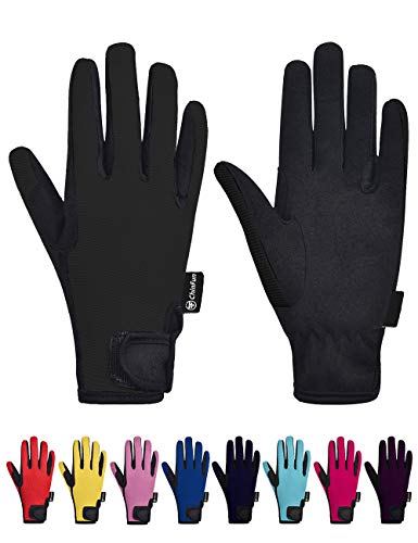 ChinFun Kids Horse Riding Gloves Child Winter Gloves Cycling Gloves Windproof Warm Gloves Perfect for Cycling Riding Running Skiing and Winter Outdoor Activities Black Size S 8-10