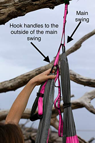 Aerial Yoga Swing - Gym Strength Antigravity Yoga Hammock - Inversion Trapeze Sling Exercise Equipment with Two Extender Hanging Straps - Blue Pink Grey Swings & Beginner Instructions.  by Yogatail (Image #5)