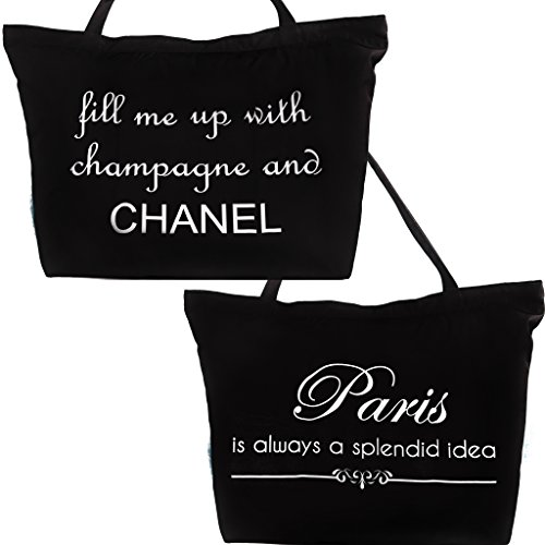 Paris-Chanel White and Black Tote Bag (Evelyn Tote)